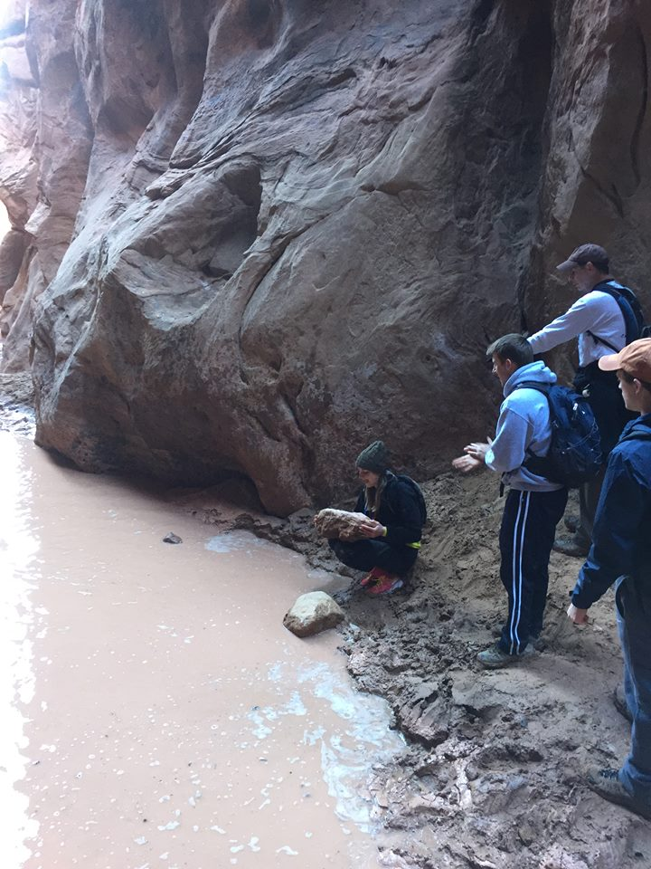 Slot Canyon-Crossing the Puddle