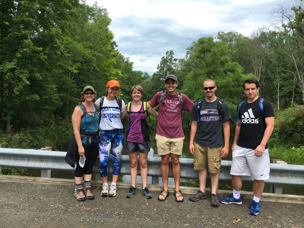 Extreme Physiology students with Pennsylvania Environmental Council (PEC) Vice President Janet Sweeney and her intern Alec Cottone (left). Janet is External Lead to the Pocono Forest and Waters Conservation Landscape, which coordinated selection of course activity sites.