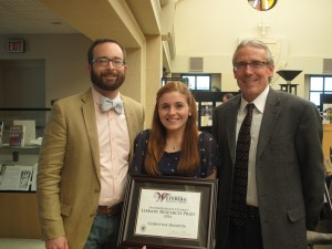 Christine Panzitta with her adviser Dr. Adam Pratt and Dean Brian Conniff.