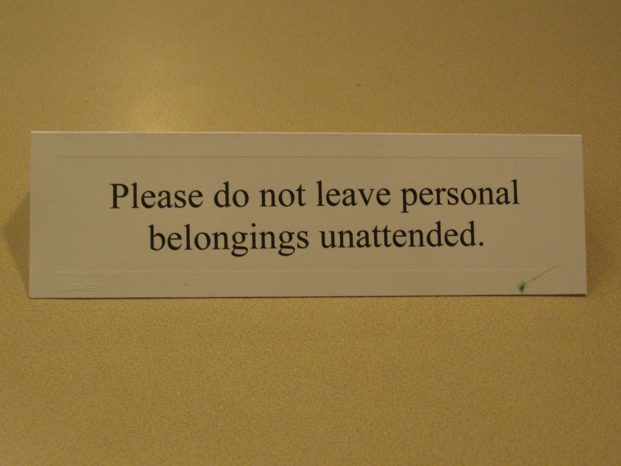 Personal Belongings Unattended