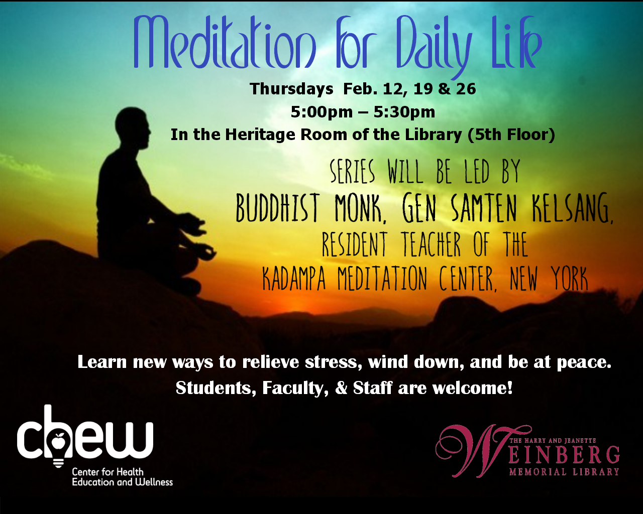 Meditation for Daily Life Program Hosted in the Library