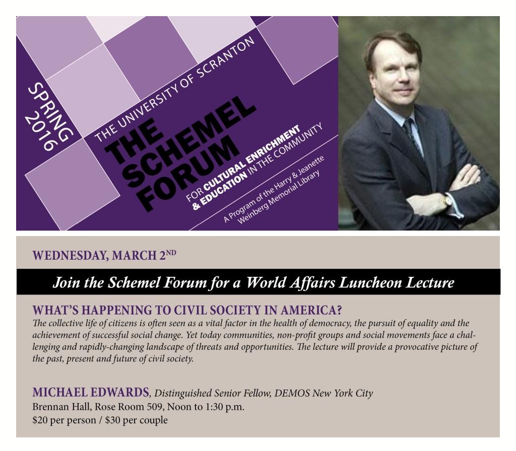 Schemel Forum Luncheon Lecture - Michael Edwards