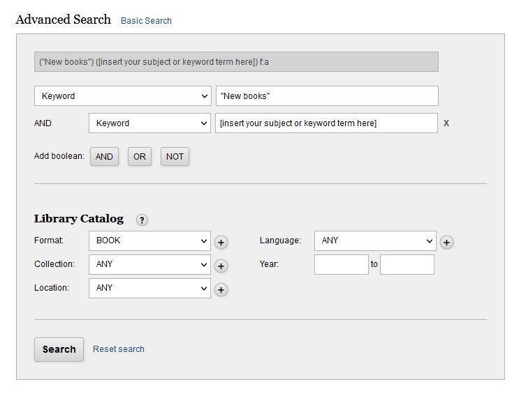 WML Catalog Advanced Search Box